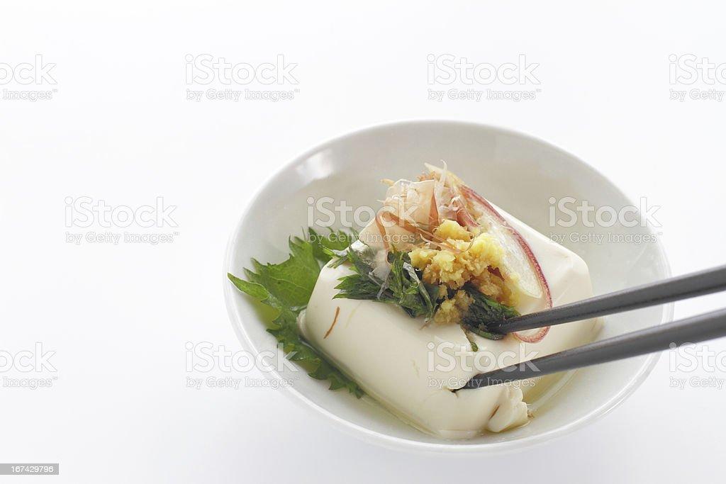 Japanese food cold Tofu called Hiyayakko royalty-free stock photo
