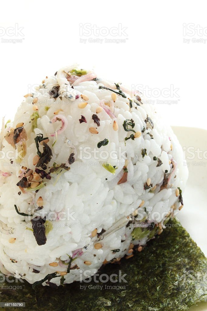japanese food, green leaf furikage rice ball stock photo