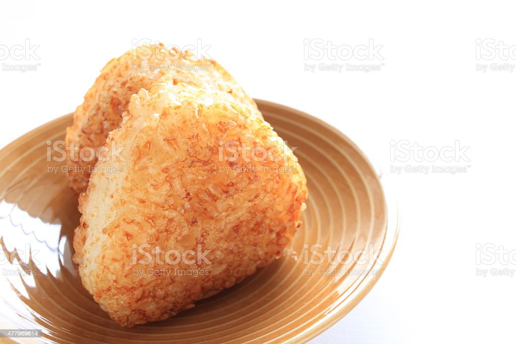 Japanese food, grilled rice ball stock photo