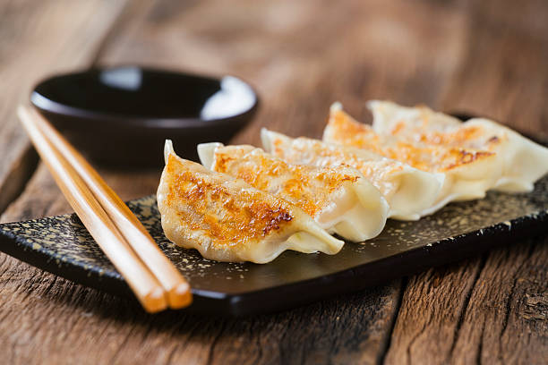 japanese food gyoza - japanese food stock photos and pictures