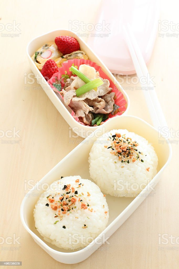 Japanese food, homemade packed lunch stock photo