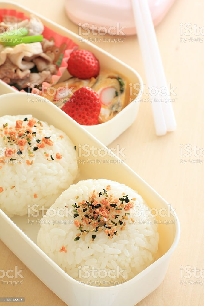 Japanese food, homemade rice ball stock photo