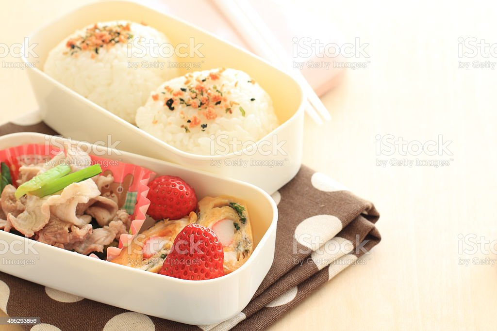 Japanese food, homemde rice ball bento stock photo