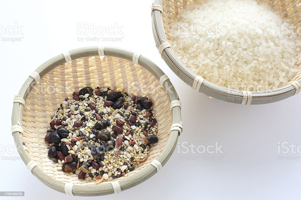 japanese food ingredient, five gokoku and rice stock photo