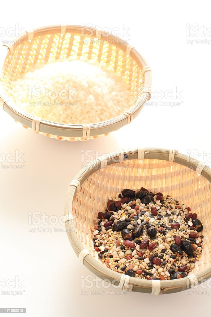 japanese food ingredient, five grain and rice stock photo