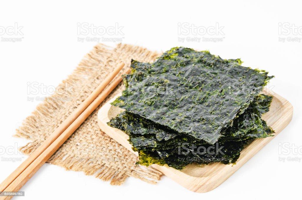 Japanese food nori dry seaweed sheets. stock photo
