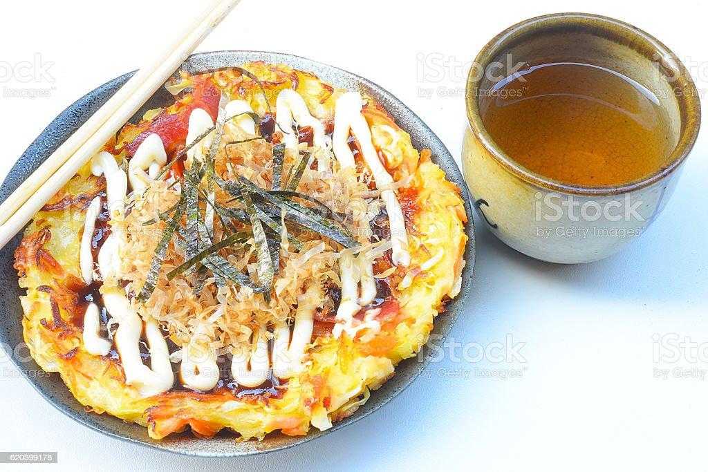 Japanese food okonomiyaki , Japanese pizza stock photo