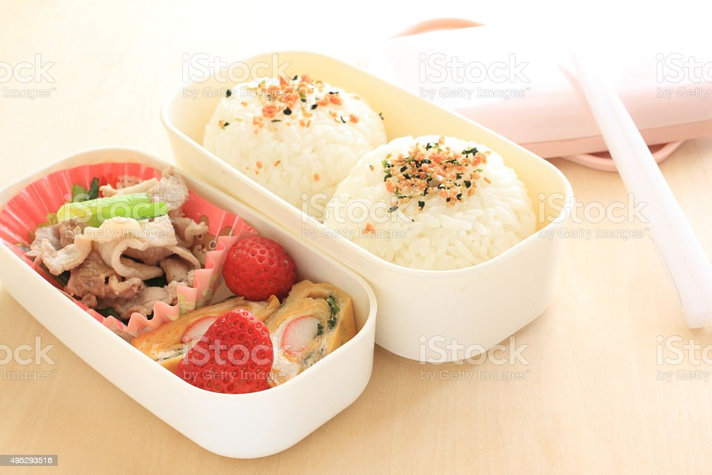 Japanese food, pork and rice ball stock photo