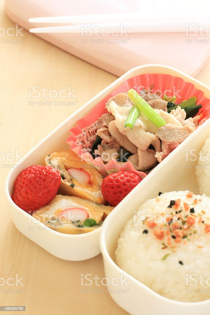 Japanese food, rice ball Bento stock photo