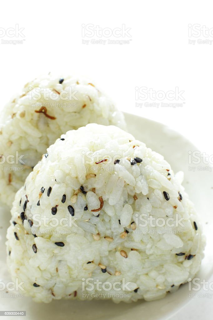 Japanese food, sesame rice ball stock photo