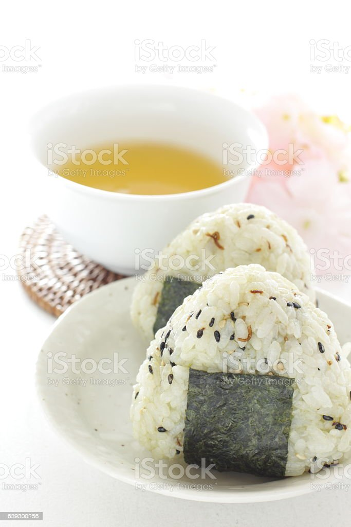 Japanese food, sesame rice ball with seaweed stock photo