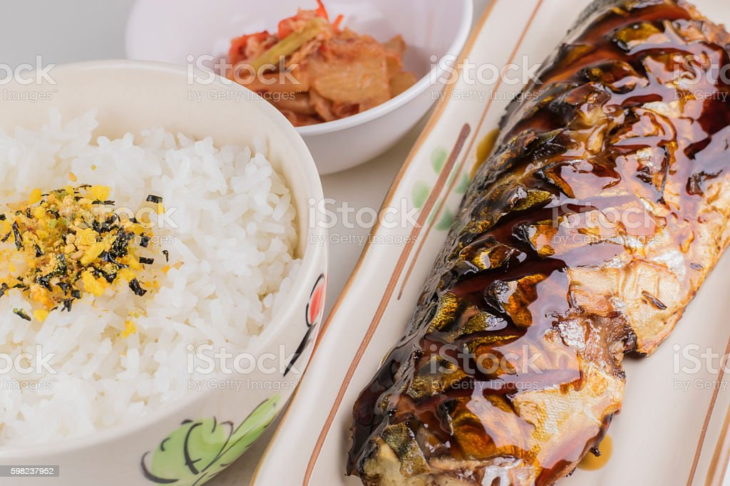 Japanese food set, Saba grilled, rice, furikake, kimuchi stock photo