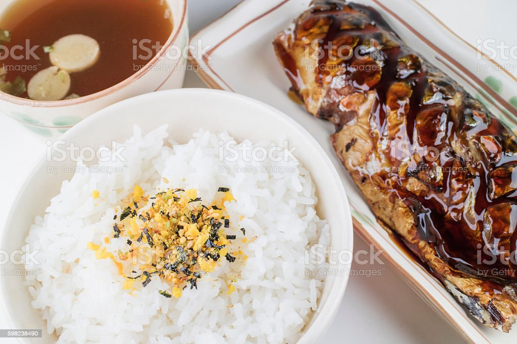 Japanese food set, Saba grilled, rice, furikake, miso soup stock photo