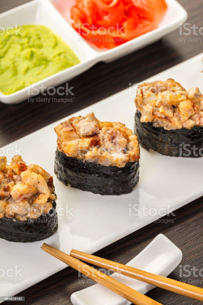 Japanese food, spicy gunkan roll royalty-free stock photo