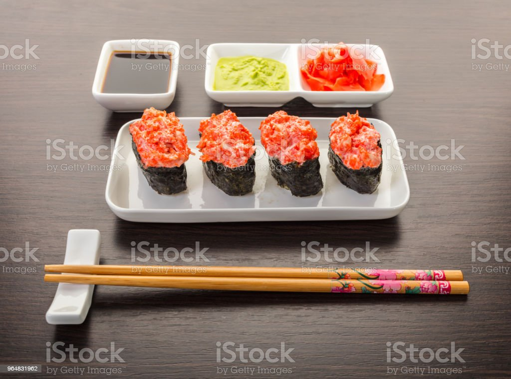 Japanese food, spicy gunkan roll royalty-free stock photo