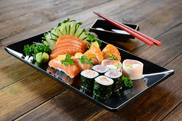 japanese food - sushi and sashimi - japanese food stock photos and pictures