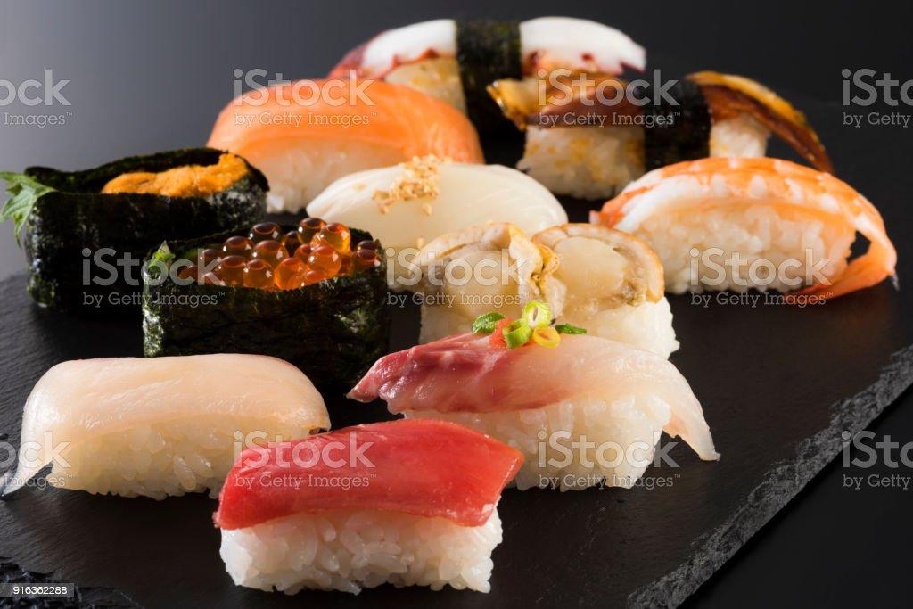 日本食、寿司の盛り合わせ ストックフォト