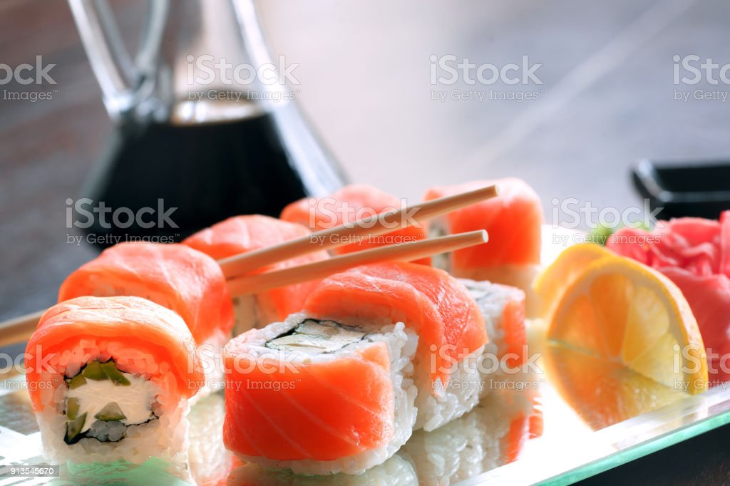 Japanese food Sushi Roll Maki of Salmon stock photo