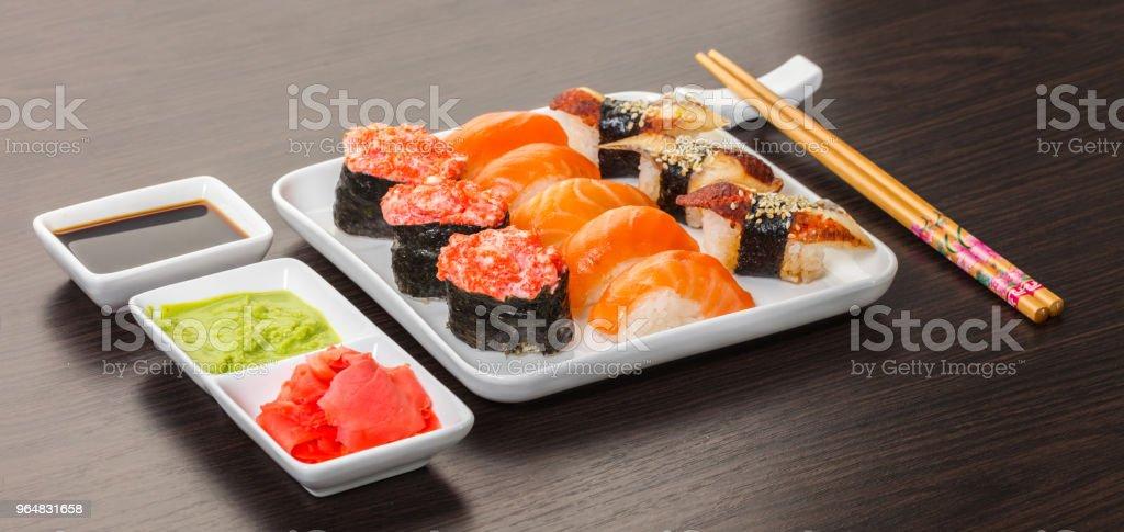 Japanese food, sushi set royalty-free stock photo