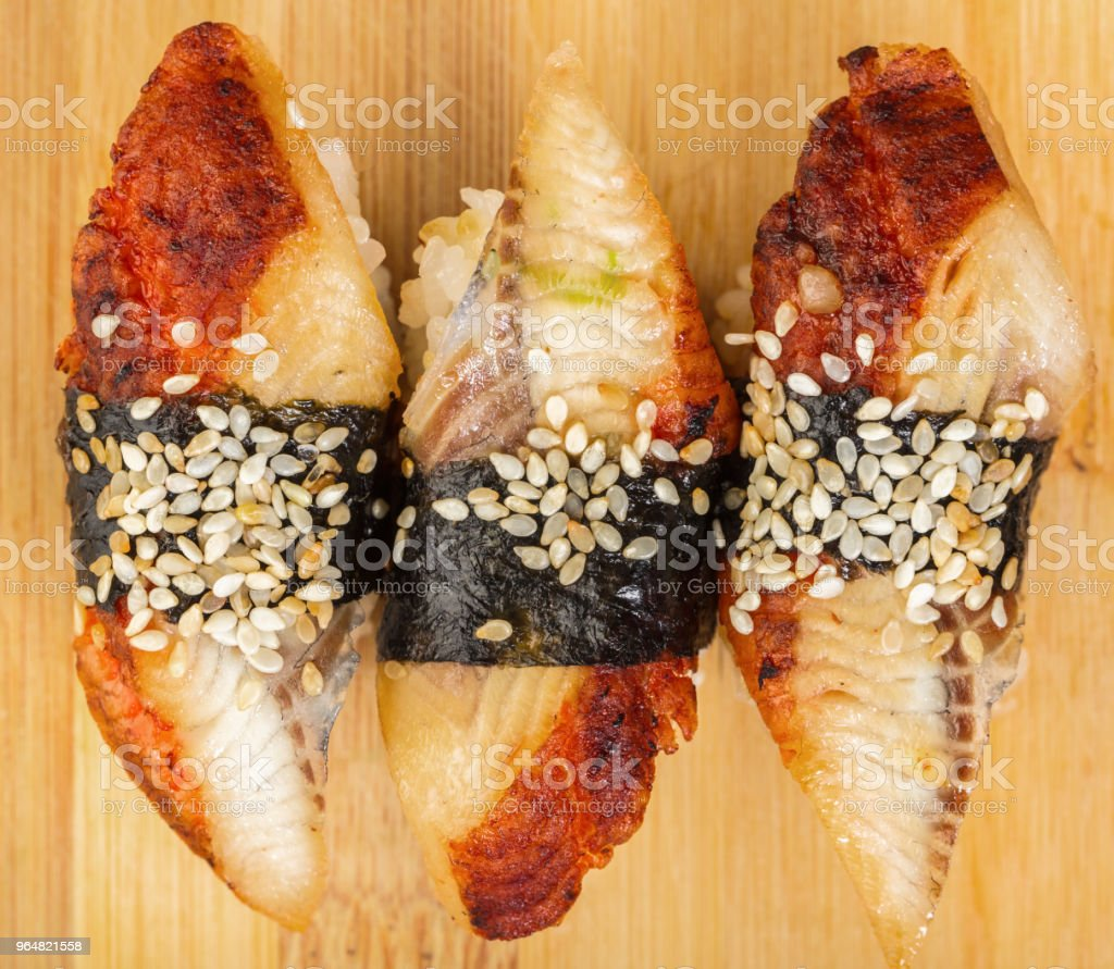 Japanese food, sushi with eel royalty-free stock photo