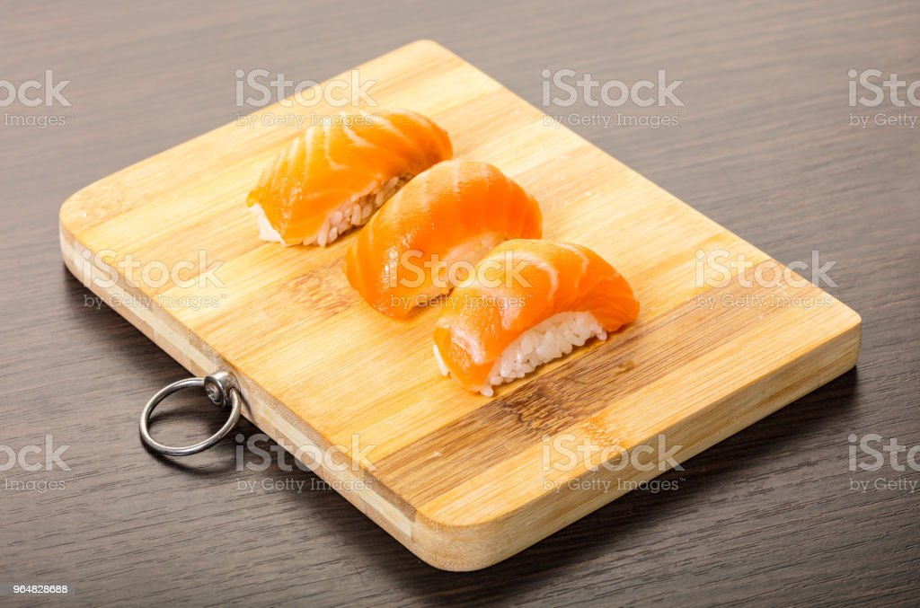 Japanese food, sushi with salmon royalty-free stock photo