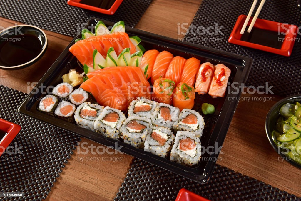 Japanese food to go stock photo