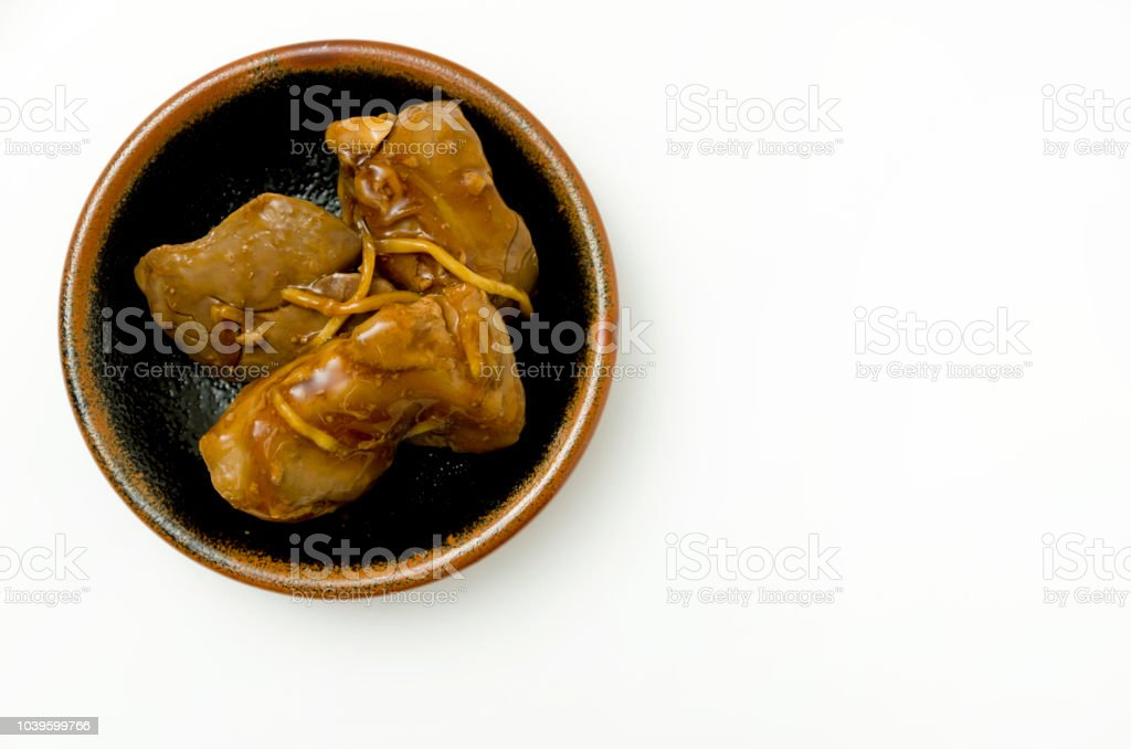 Japanese food,Toriliveramakarani,Chicken liver Seasoneted with soy sauce and suger. stock photo