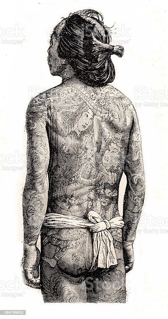 Japanese full body tattooed man wearing a mawashi stock photo