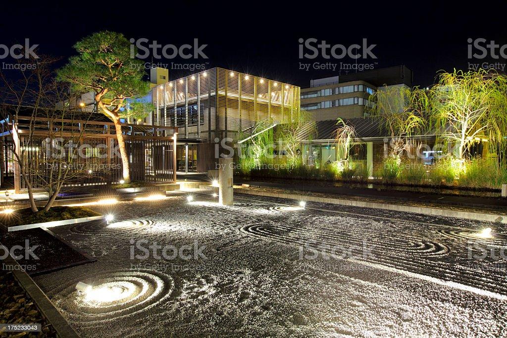 Japanese Garden at night stock photo