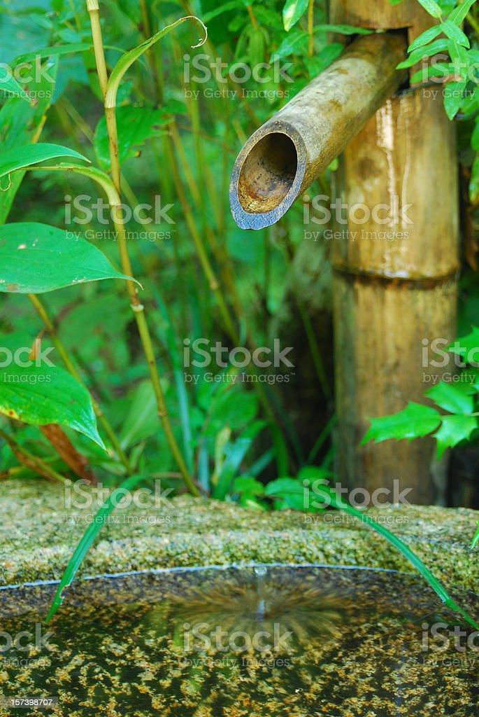 Japanese Garden: Bamboo Water Fountain royalty-free stock photo