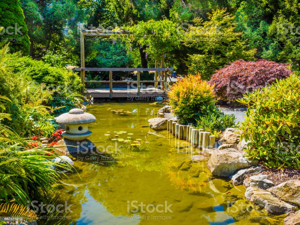 Japanese garden design with water stream and bridge, public park royalty-free stock photo