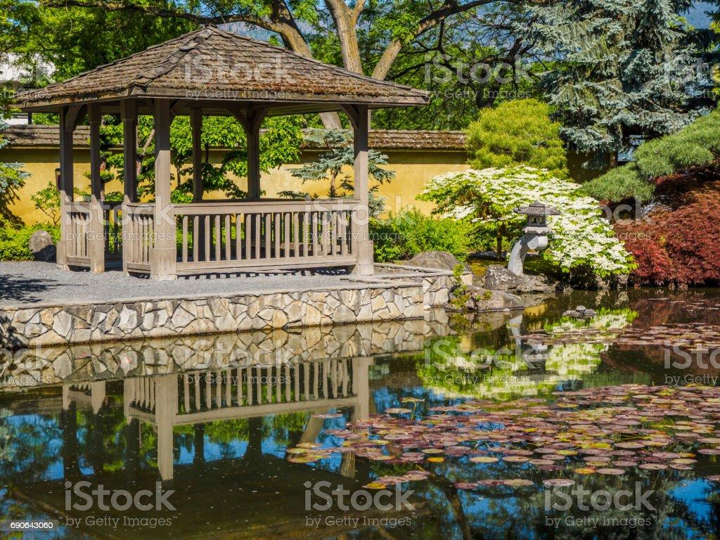 Japanese Garden Design With Water Stream And Gazebo Public Park In