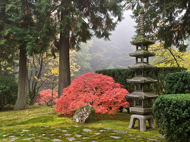 japanischer garten herbstfarben sapporo pagode laterne portland, oregon - japanischer garten stock-fotos und bilder