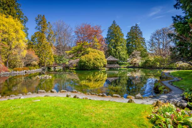 Japanese Garden Hatley Castle Victoria BC Canada stock photo