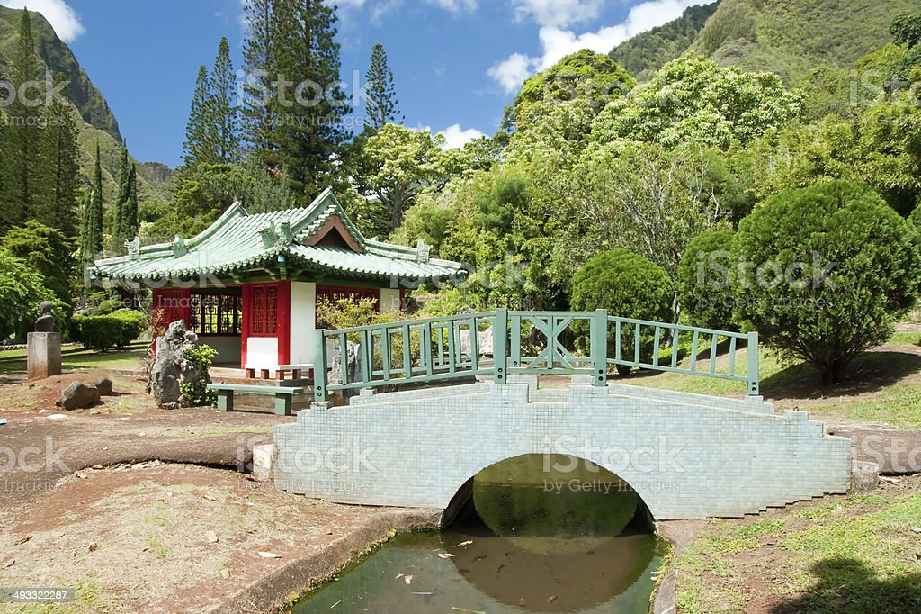 Japanese garden in Iao Valley State Park on Maui Hawaii royalty-free stock photo