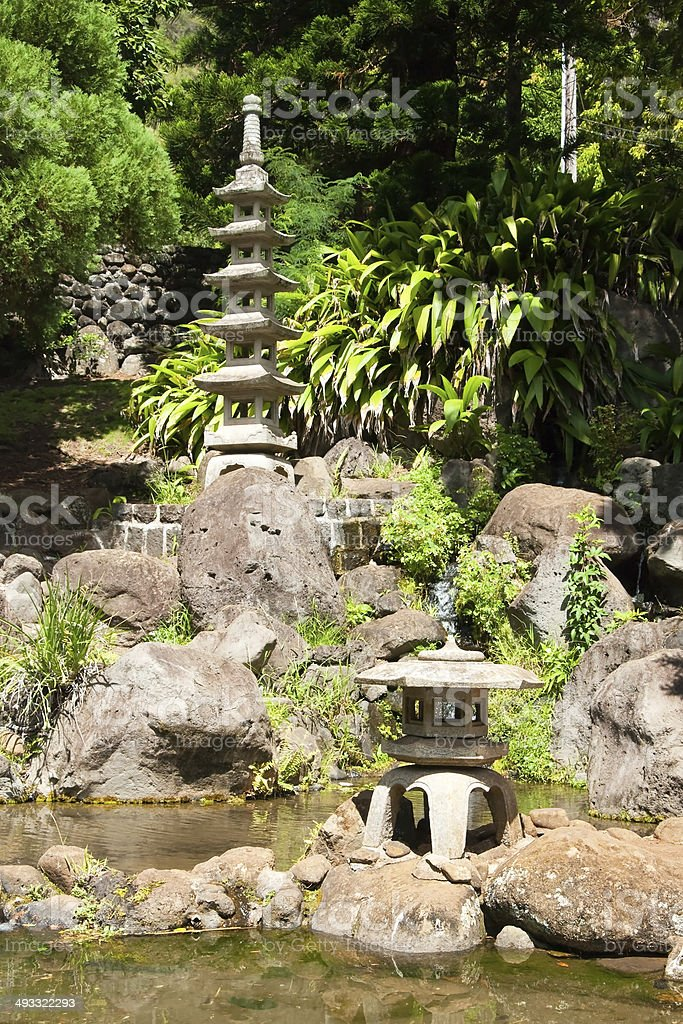 Japanese garden in Iao Valley State Park on Maui Hawaii stock photo