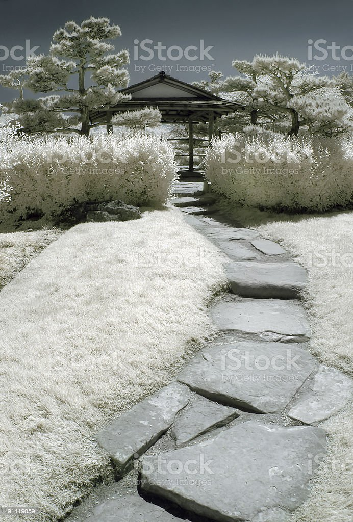 Japanese Garden in Infrared royalty-free stock photo