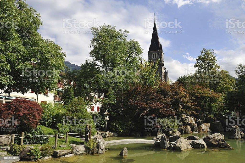 Japanese garden in Interlaken royalty-free stock photo
