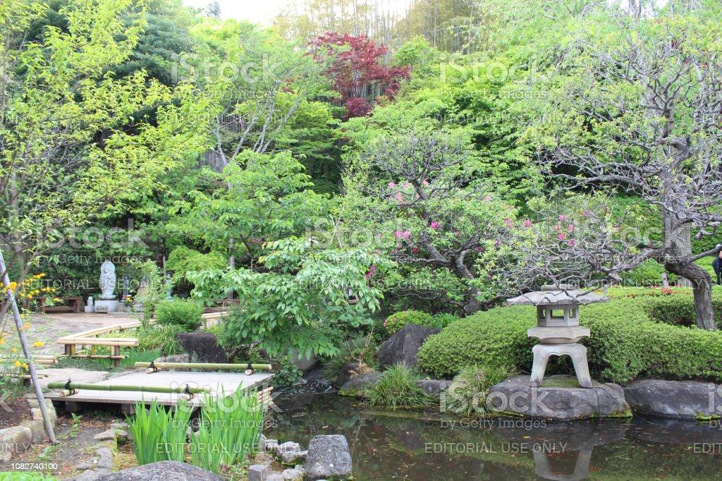 Japanese Garden Of Hase Temple In Kamakura Japan Stock Photo
