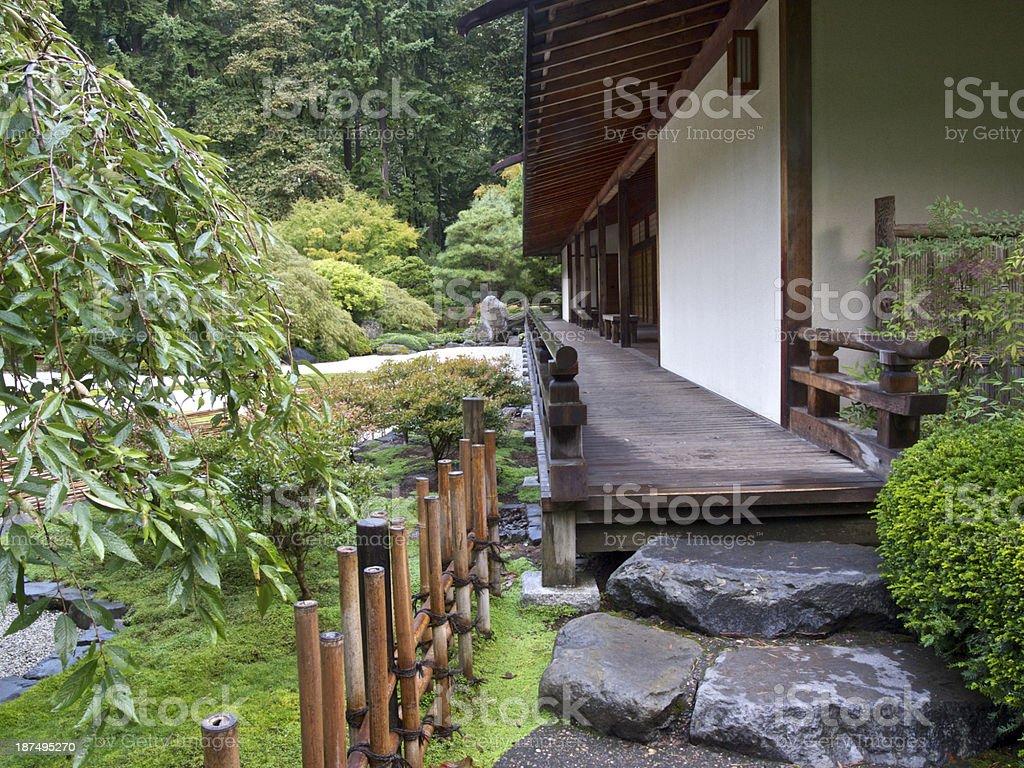 Japanese Garden Pavilion Walkway in Portland Oregon royalty-free stock photo