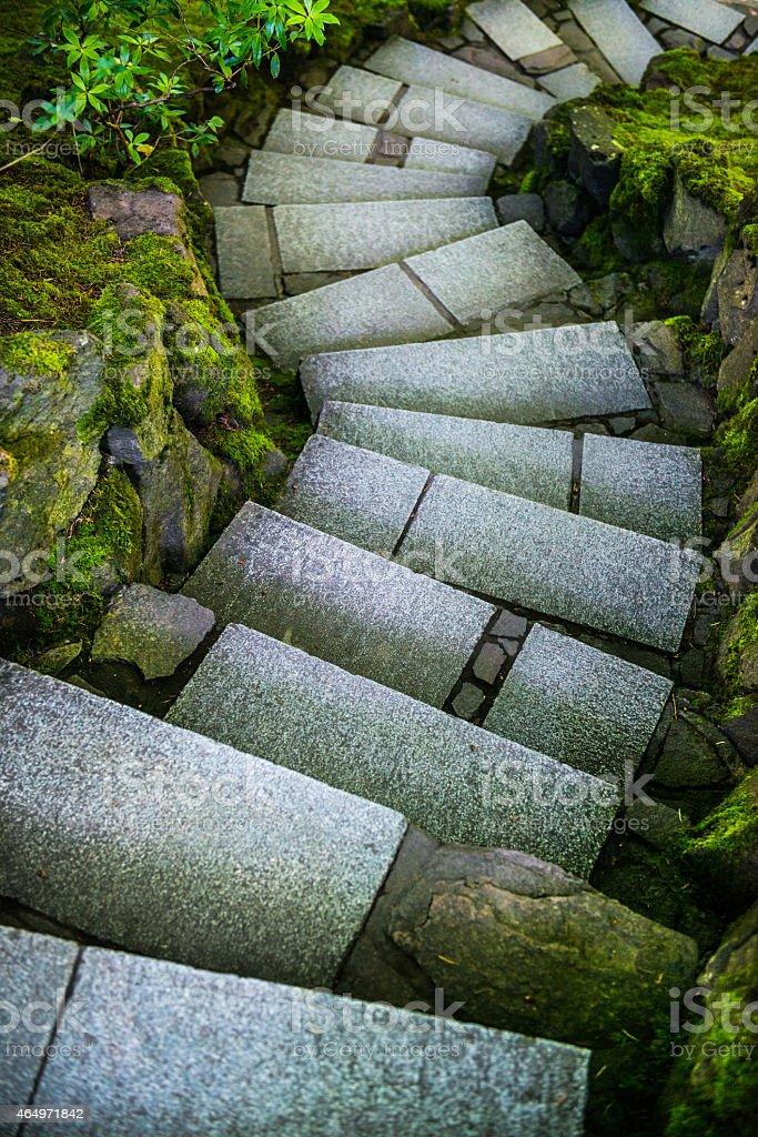 Japanese Garden Steps Stone steps descending through green mossy borders in the Portland Japanese Garden.  Taken July 2014 in Portland, Oregon, USA. 2015 Stock Photo