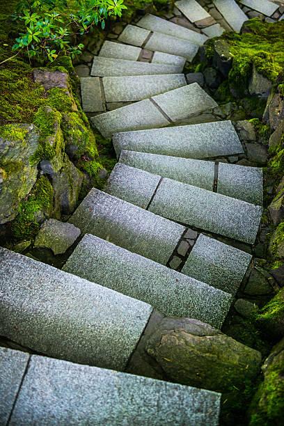 Japanese Garden Steps stock photo