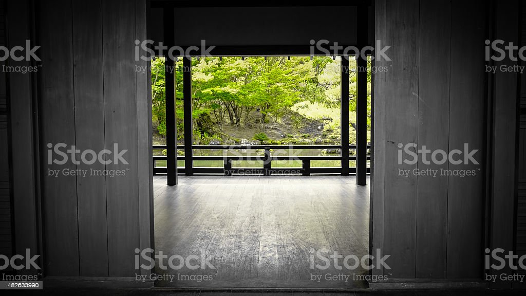 japanese garden with a feng shui house stock photo
