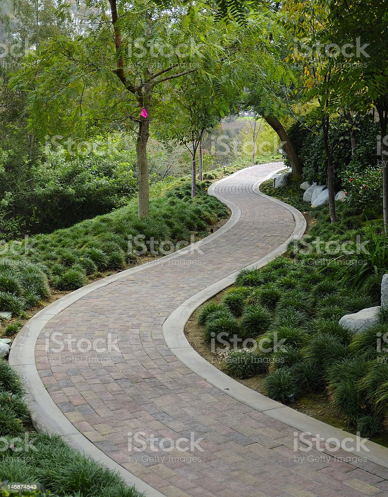 Japanese Garden with pavestone walkway stock photo