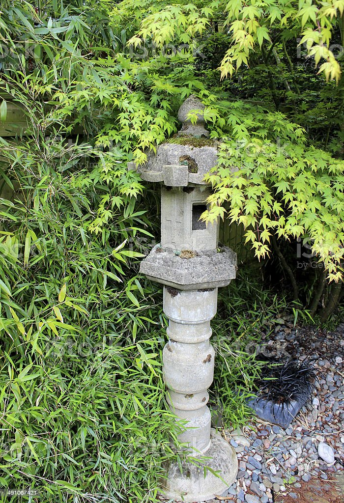 Japanese Garden With Stone Pillar Lantern And Acer Palmatum (maple)  Royalty Free Stock