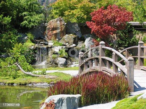 An inviting bridge leads to a beautiful waterfall.