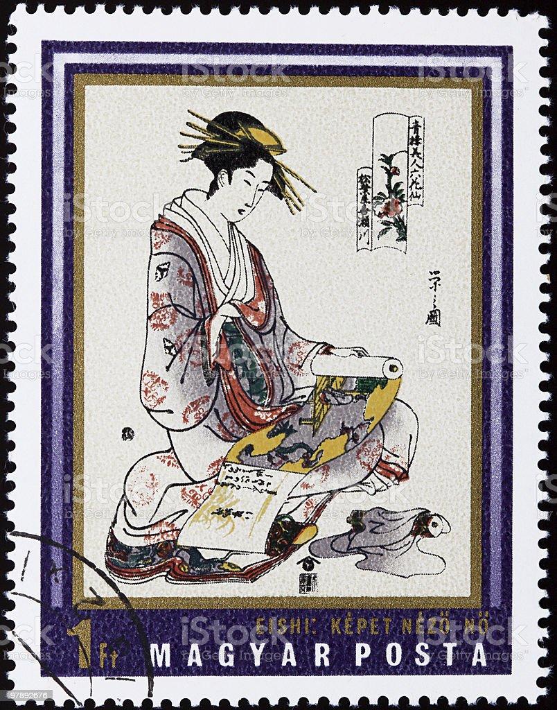 Japanese geisha royalty-free stock photo