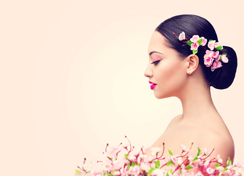 japanese girl and flowers asian woman beauty makeup side