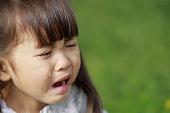 芝生の上で泣いている日本人の女の子 (4 歳)