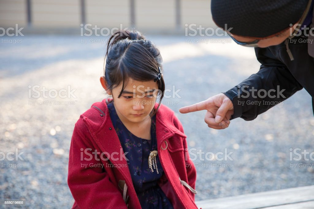 Japanese girl crying stock photo
